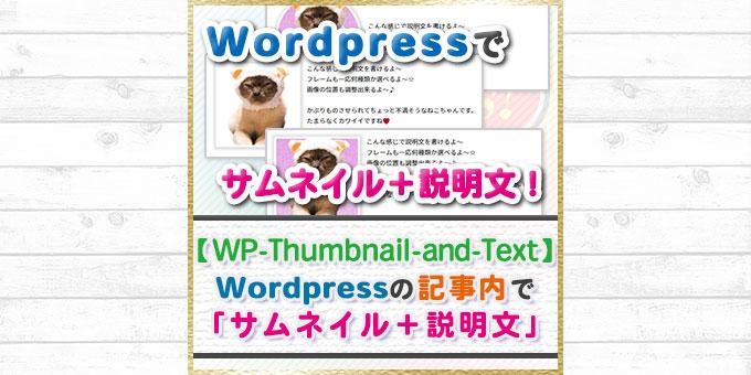 【WP-Thumbnail-and-Text】WordPressの記事内で簡単に「サムネイル+説明文」が書けるプラグインを作ったよ!