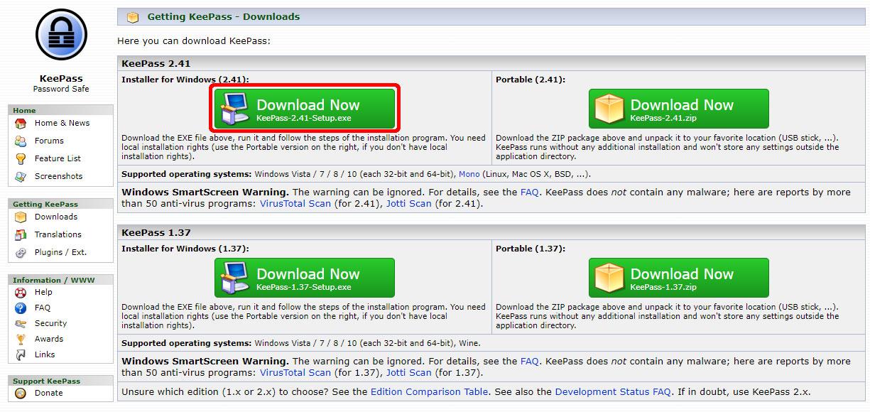 KeePass の最新バージョンをダウンロード