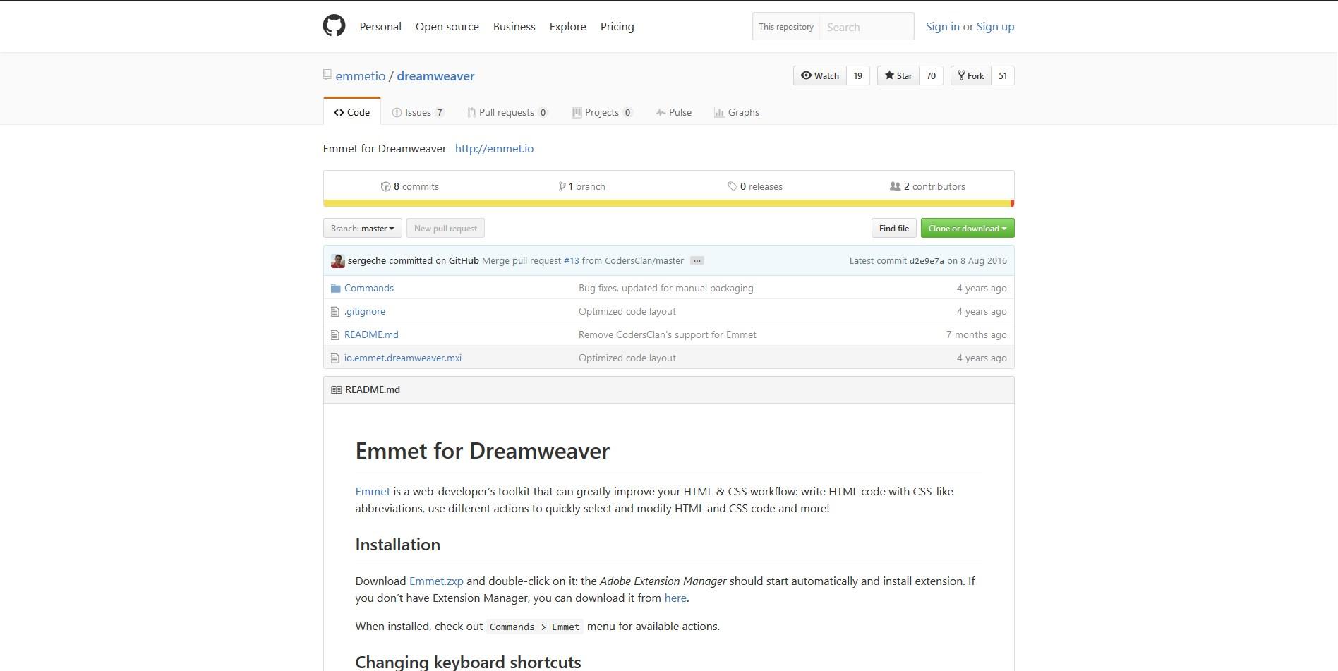 『Emmet』ダウンロードページ画像