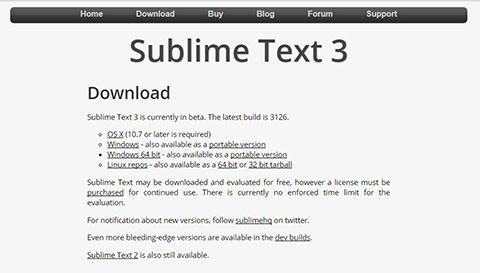「Sublime Text 3」ダウンロードページ