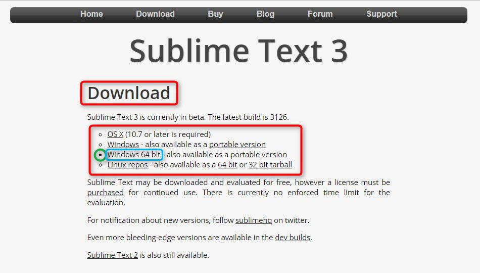 「Sublime Text 3」ダウンロードページの詳細