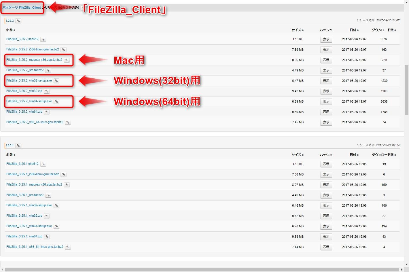 FileZillaダウンロードページ02
