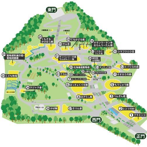 旭山動物園の園内マップ