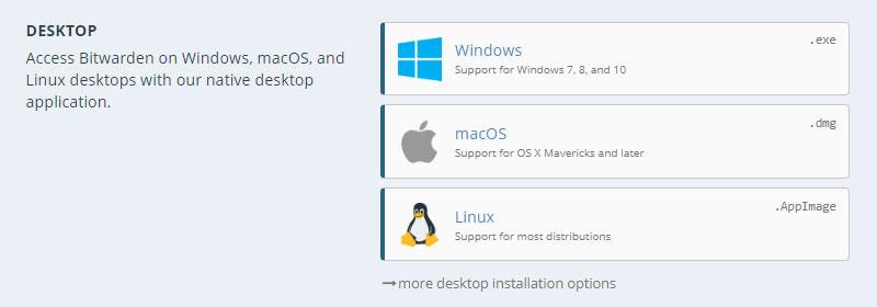 Bitwardenのデスクトップアプリを選択