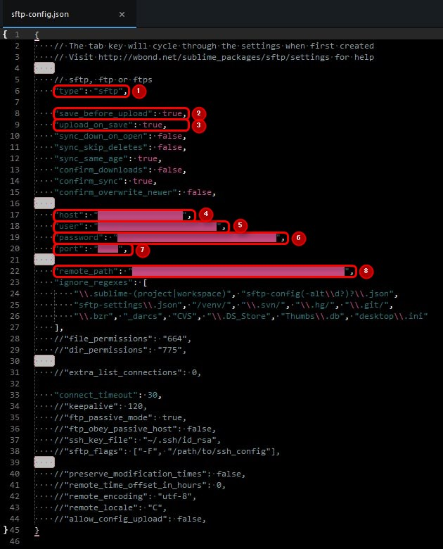 「sftp-config.json」の変更箇所