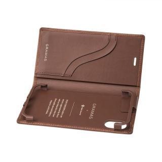 GRAMAS TOIANO フルレザー手帳型ケース ダークブラウン iPhone X